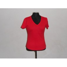 Ladies V-Neck T-Shirt Red